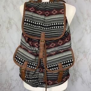 Boho Tribal Stripe Print Backpack Bag Embroidered